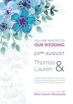 Elegant wedding invitation with blue painted flowers template