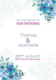 Elegant wedding invitation with blue painted flowers