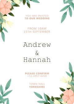 Elegant wedding invitation with pink painted flowers