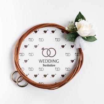 Elegant wedding invitation with rose