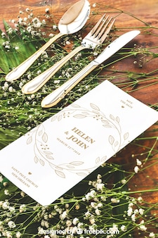 Elegant wedding menu mockup