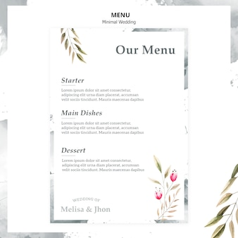 Elegant wedding menu with starter
