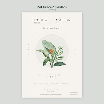Elegant wedding poster a4 template