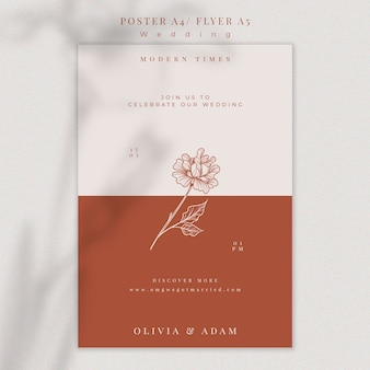 Шаблон элегантного свадебного плаката Бесплатные Psd