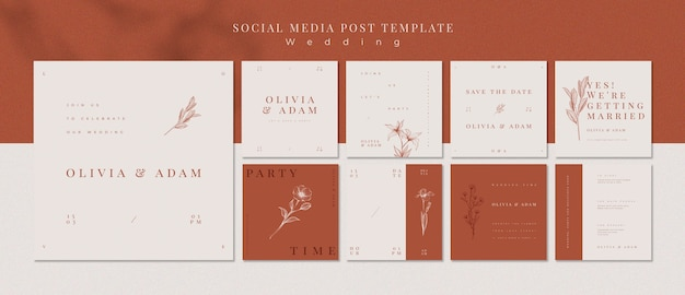 Elegant wedding social media posts template