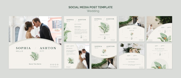 Elegant wedding social media template
