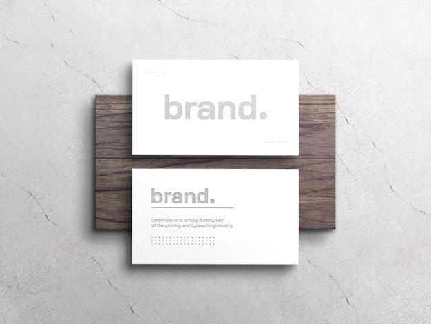 Elegant white business card mockup with letterpress effect
