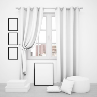 Elegant window with blank photo frames around