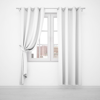 Elegant window with white curtains on white wall