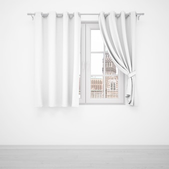 Elegante finestra con tende bianche sul muro bianco