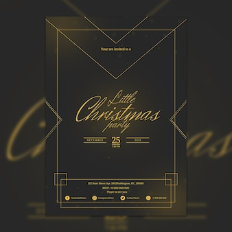 Elegante dark christmas party poster mockup