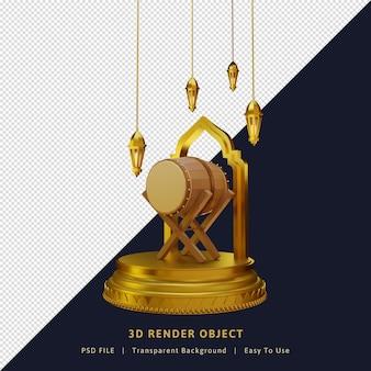 Элемент рамадан карим с подиумом и фонарем
