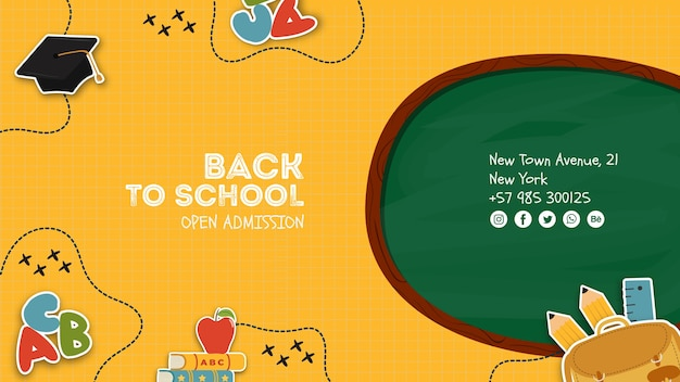 Elementary school open admission poster template