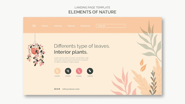 Elements of nature landing page