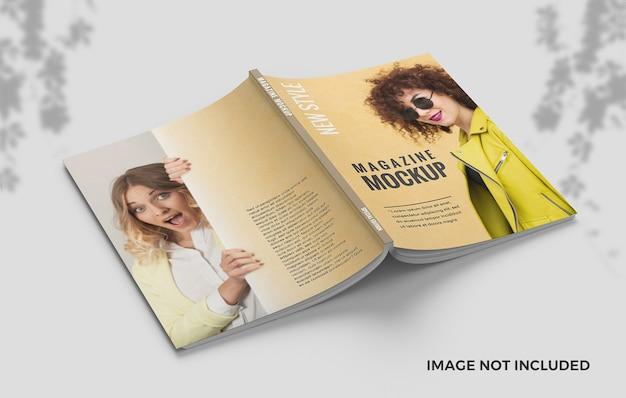 エレガントな表紙と裏表紙の雑誌のモックアップ