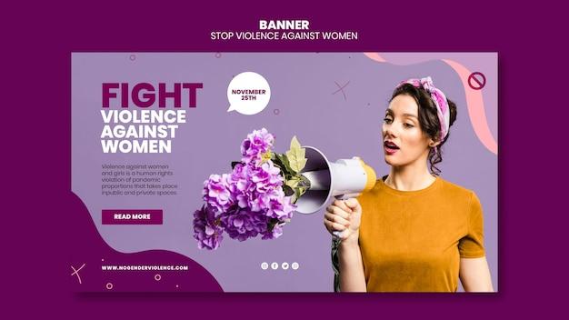 Ликвидация насилия в отношении женщин шаблон горизонтального баннера с фото