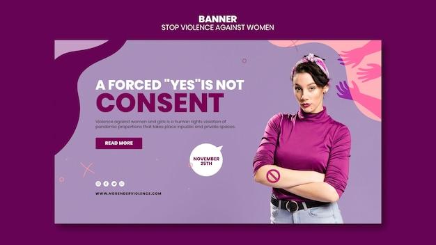 Ликвидация насилия в отношении женщин горизонтальный баннер шаблон
