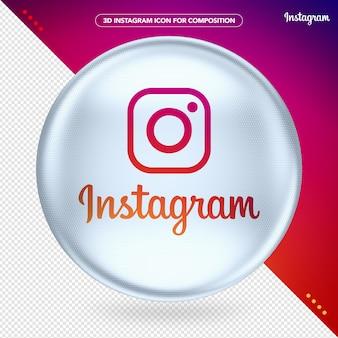 Ellipse 3d white instagram logo