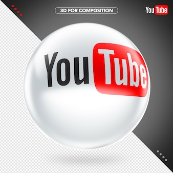 Ellipse 3d white youtube logo for composition