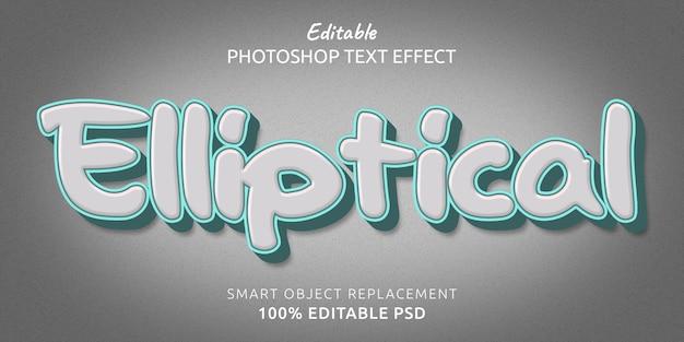 Эллиптический редактируемый эффект стиля текста psd