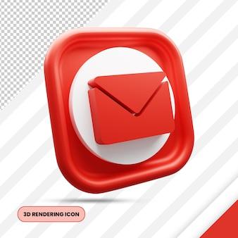 メールと封筒の3dレンダリングアイコン