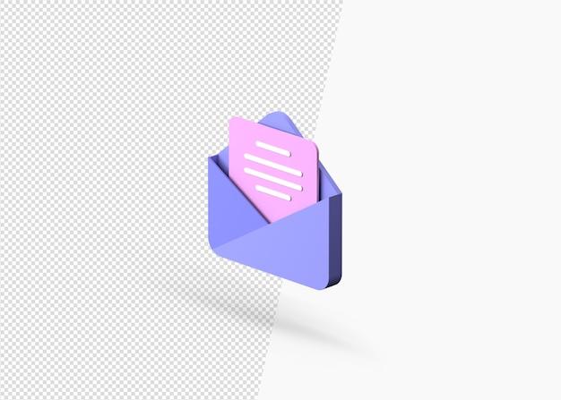 Концепция уведомления по электронной почте с 3d-рендерингом