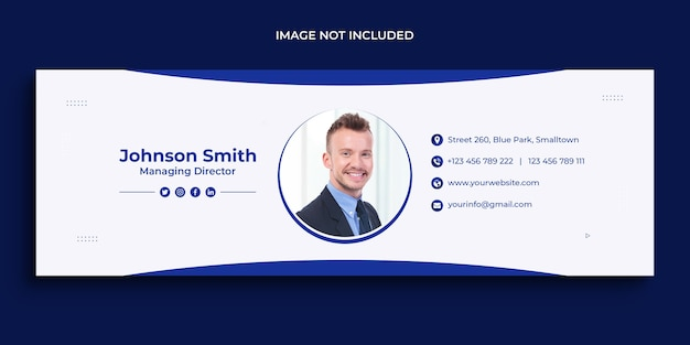 Email signature design or email footer and personal social media cover template