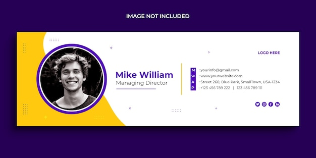 Email signature design, email footer, personal social media cover template