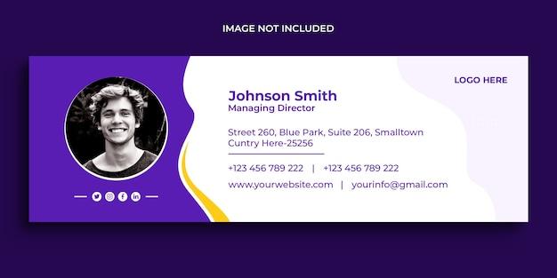 Дизайн подписи электронной почты или нижний колонтитул электронной почты и шаблон обложки для личных социальных сетей