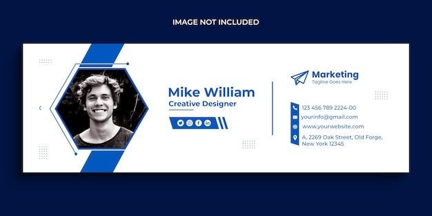 メールの署名デザインまたはメールのフッターとパーソナルソーシャルメディアのカバーテンプレート