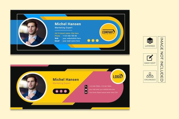 Редактируемый дизайн шаблона электронной подписи и обложка для социальных сетей