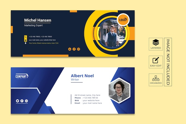Email signature editable template design and social media cover