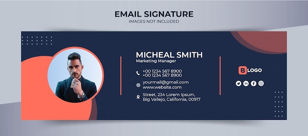 Email signature template, business and corporate design