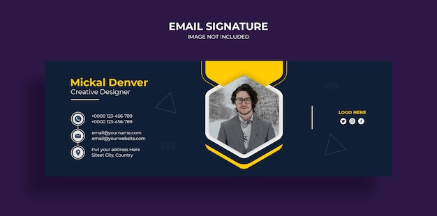 Email signature template design or email footer and personal social media cover template