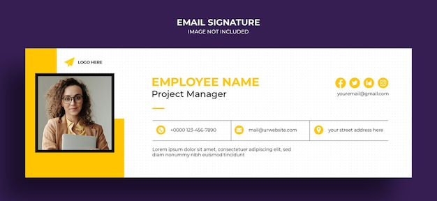 Email signature template design or email footer and personal social media cover