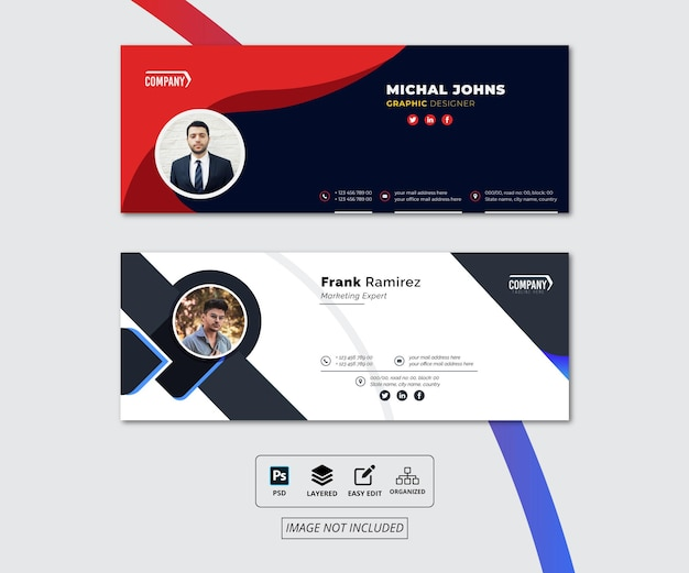 Email signature template design or facebook cover design or personal identity