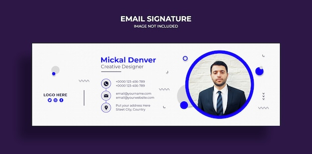 Дизайн шаблона подписи электронной почты или нижний колонтитул электронной почты и шаблон обложки для личных социальных сетей