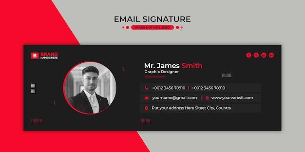 이메일 서명 템플릿 디자인 또는 이메일 바닥 글 및 개인 소셜 미디어 표지
