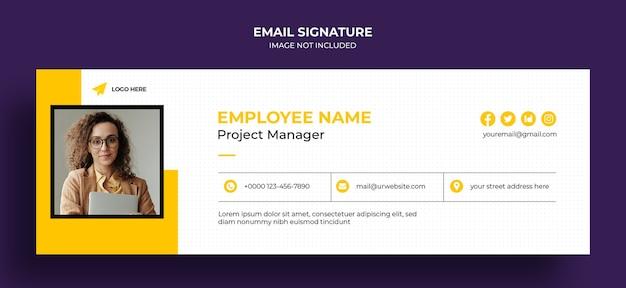 Дизайн шаблона подписи электронной почты или нижний колонтитул электронной почты и обложка в личных социальных сетях