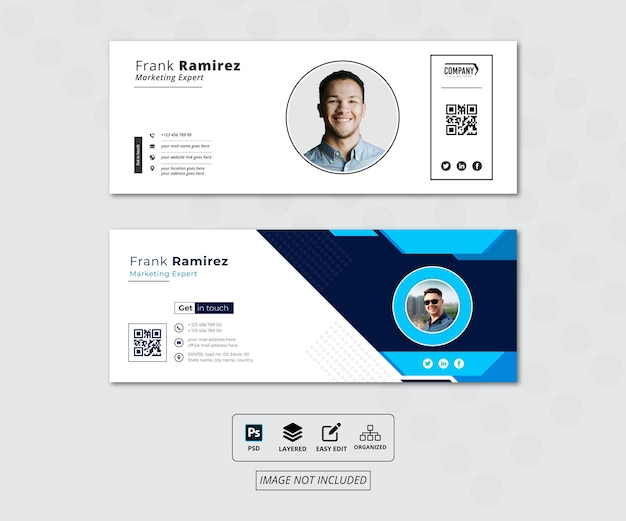 Дизайн шаблона подписи электронной почты, дизайн обложки facebook или индивидуальный стиль