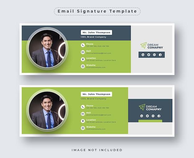Шаблон подписи электронной почты или нижний колонтитул электронной почты и набор обложек для личных социальных сетей