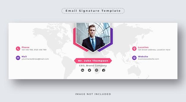 Шаблон подписи электронного письма или нижний колонтитул электронного письма и обложка в личной социальной сети