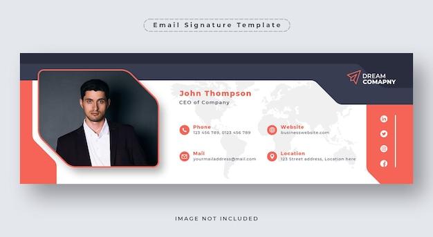 Шаблон подписи электронного письма или нижний колонтитул электронного письма и обложка в социальных сетях
