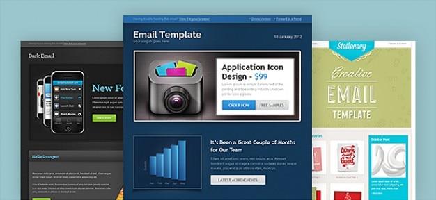 3種類のデザインでの電子メールテンプレート