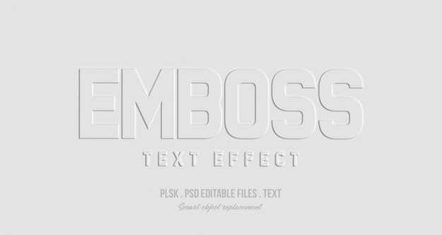 Emboss 3d text style effect mockup