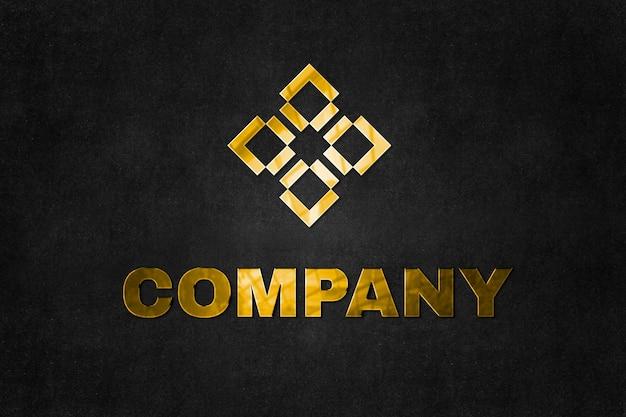 ここにタグラインのある会社の金のエンボスロゴモックアップpsdテキスト