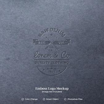 가죽 질감 편집 가능 레이어의 엠보싱 로고