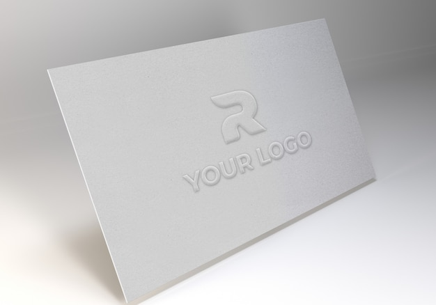 Embossed art paper logo mockup template
