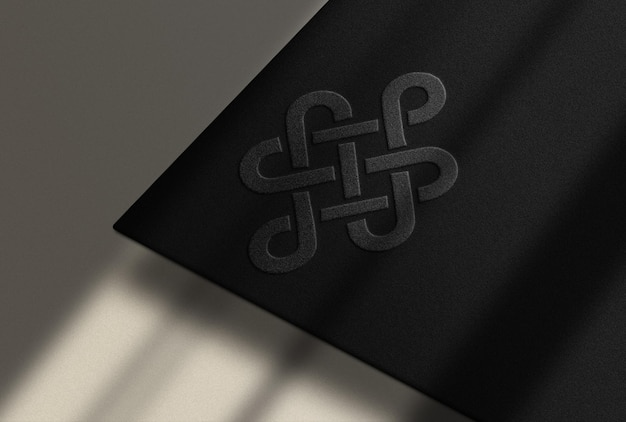 Embossed black paper mockup with white background