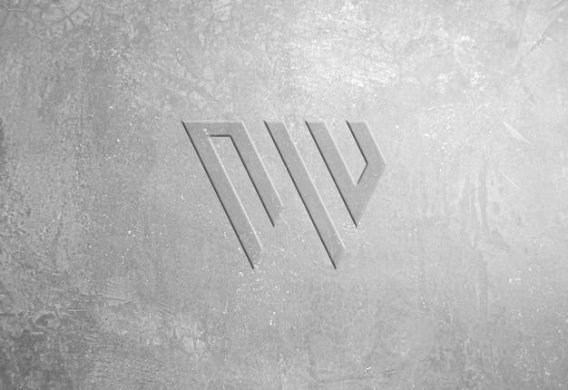 Макет логотипа с тиснением под бетон